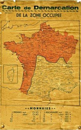 Carte de la zone occupée, juillet 1940